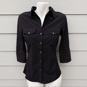 Lucy Black Button Down Fly Away Shirt